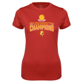 Ladies Syntrel Performance Red Tee-2018 NCAA Mens Basketball National Champions - Stacked