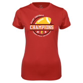 Ladies Syntrel Performance Red Tee-2018 GAC Football Champions