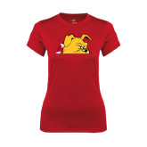 Ladies Syntrel Performance Red Tee-Bulldog Head Peeking