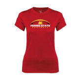 Ladies Syntrel Performance Red Tee-Ferris State Football Horizontal