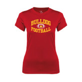 Ladies Syntrel Performance Red Tee-Bulldog Football Arched