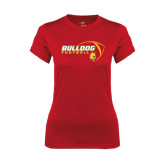 Ladies Syntrel Performance Red Tee-Bulldog Football Flat w/ Ball
