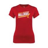 Ladies Syntrel Performance Red Tee-Bulldogs Hockey Slanted