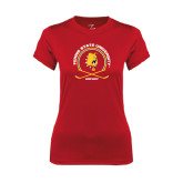 Ladies Syntrel Performance Red Tee-Hockey Circle w/ Sticks