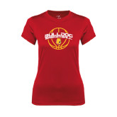 Ladies Syntrel Performance Red Tee-Basketball Arched w/ Ball
