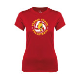 Ladies Syntrel Performance Red Tee-Volleyball Ball w/ Stars