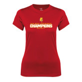 Ladies Syntrel Performance Red Tee-2016 WCHA Tournament Champions Hockey