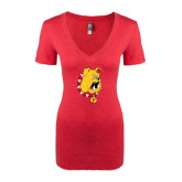 Next Level Ladies Vintage Red Tri Blend V-Neck Tee-Bulldog Head