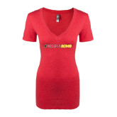 Next Level Ladies Vintage Red Tri Blend V-Neck Tee-#FerrisStrong
