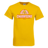 Gold T Shirt-Back-to-Back-to-Back GLIAC Champions Volleyball