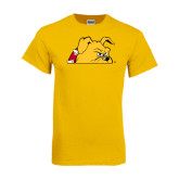 Gold T Shirt-Bulldog Head Peeking