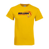 Gold T Shirt-Bulldog Football Flat w/ Ball