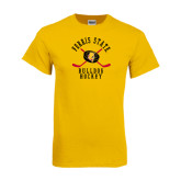 Gold T Shirt-Hockey Arched w/ Sticks and Puck