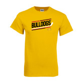 Gold T Shirt-Bulldogs Hockey Slanted