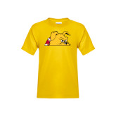 Youth Gold T Shirt-Bulldog Head Peeking