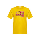 Youth Gold T Shirt-Bulldogs Est. 1884 Stacked