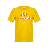 Youth Gold T Shirt-Back-to-Back-to-Back GLIAC Champions Volleyball