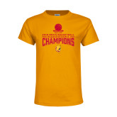 Youth Gold T Shirt-2018 NCAA Mens Basketball National Champions - Stacked