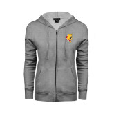 ENZA Ladies Grey Fleece Full Zip Hoodie-Bulldog Head