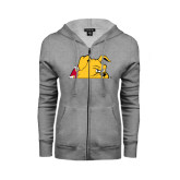 ENZA Ladies Grey Fleece Full Zip Hoodie-Bulldog Head Peeking