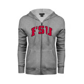 ENZA Ladies Grey Fleece Full Zip Hoodie-Arched FSU