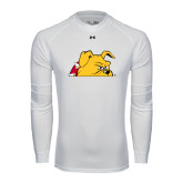 Under Armour White Long Sleeve Tech Tee-Bulldog Head Peeking