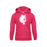 Youth Raspberry Fleece Hood-Bulldog Head