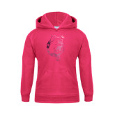 Youth Raspberry Fleece Hood-Bulldog Head Foil