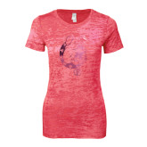 Next Level Ladies Junior Fit Fuchsia Burnout Tee-Bulldog Head Foil