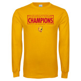 Gold Long Sleeve T Shirt-2018 NCAA Mens Basketball National Champions - Box