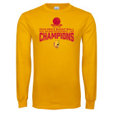 Gold Long Sleeve T Shirt-2018 NCAA Mens Basketball National Champions - Stacked
