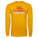Gold Long Sleeve T Shirt-2018 NCAA Mens Basketball National Champions - Basketball