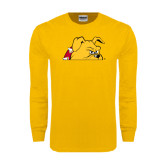 Gold Long Sleeve T Shirt-Bulldog Head Peeking