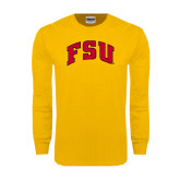 Gold Long Sleeve T Shirt-Arched FSU