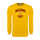 Gold Long Sleeve T Shirt-Bulldogs Est. 1884 Arched