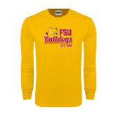 Gold Long Sleeve T Shirt-Bulldogs Est. 1884 Stacked