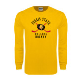 Gold Long Sleeve T Shirt-Hockey Arched w/ Sticks and Puck