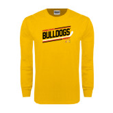 Gold Long Sleeve T Shirt-Bulldogs Hockey Slanted