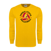Gold Long Sleeve T Shirt-Volleyball Ball w/ Stars