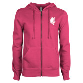 ENZA Ladies Fuchsia Fleece Full Zip Hoodie-Bulldog Head