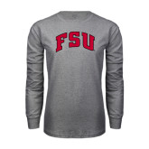 Grey Long Sleeve T Shirt-Arched FSU