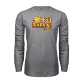 Grey Long Sleeve T Shirt-Bulldogs Est. 1884 Stacked
