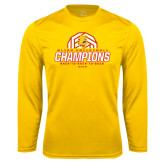 Performance Gold Longsleeve Shirt-Back-to-Back-to-Back GLIAC Champions Volleyball