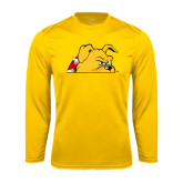 Performance Gold Longsleeve Shirt-Bulldog Head Peeking