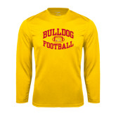 Performance Gold Longsleeve Shirt-Bulldog Football Arched