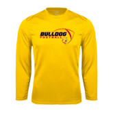 Performance Gold Longsleeve Shirt-Bulldog Football Flat w/ Ball