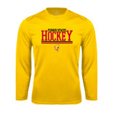 Performance Gold Longsleeve Shirt-Ferris State Hockey Stacked