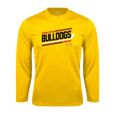 Performance Gold Longsleeve Shirt-Bulldogs Hockey Slanted