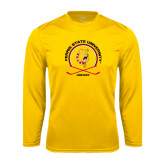 Performance Gold Longsleeve Shirt-Hockey Circle w/ Sticks