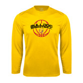 Performance Gold Longsleeve Shirt-Basketball Arched w/ Ball